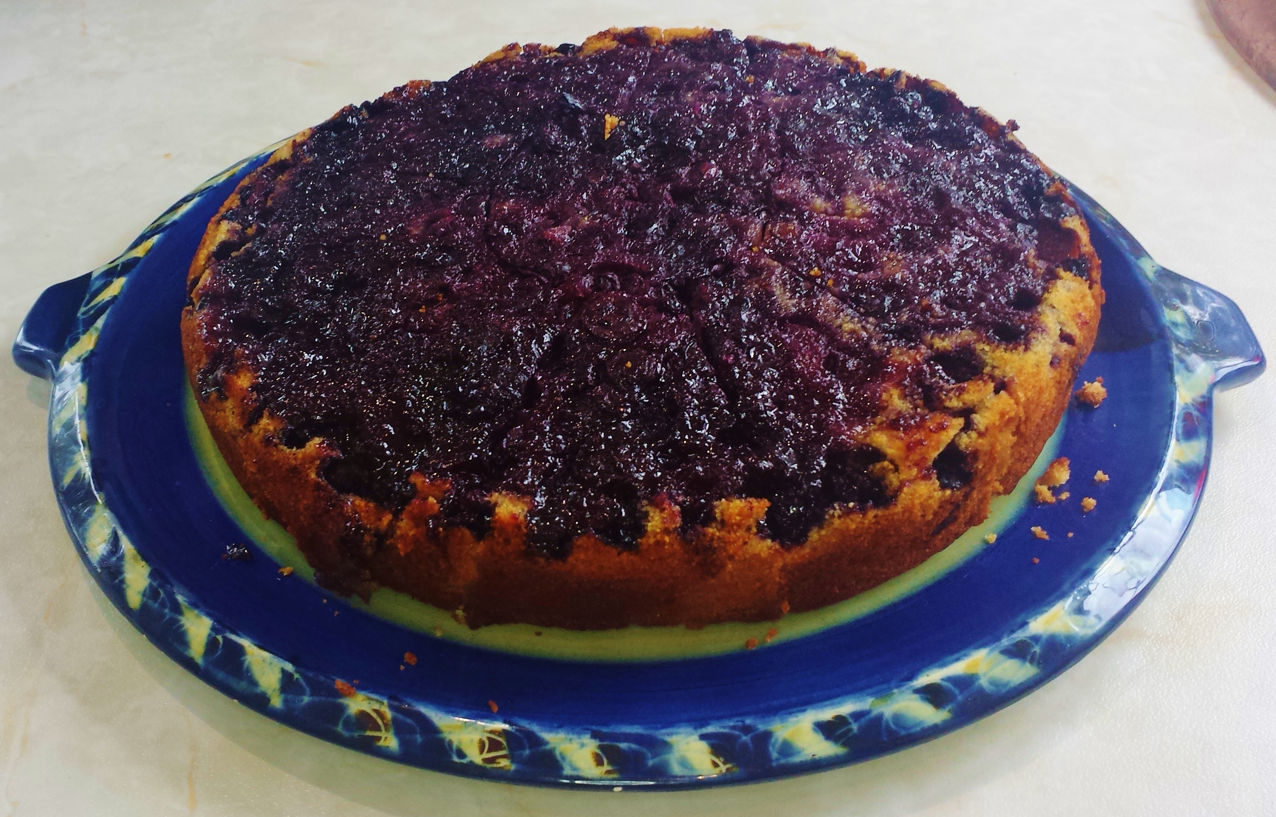 Blueberry Polenta Upside Down Cake
